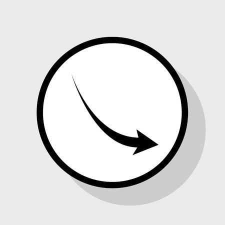 Declining arrow sign. Vector. Flat black icon in white circle with shadow at gray background.