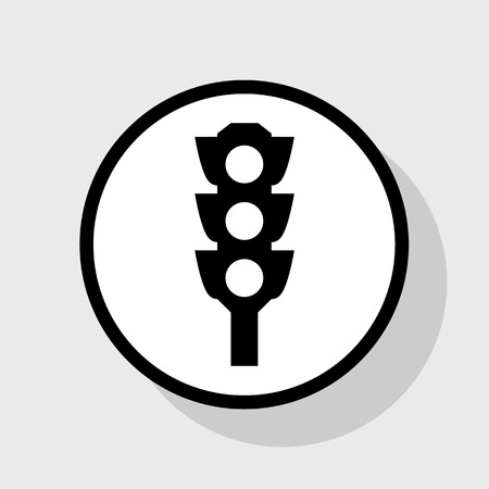 Traffic light sign. Vector. Flat black icon in white circle with shadow at gray background.