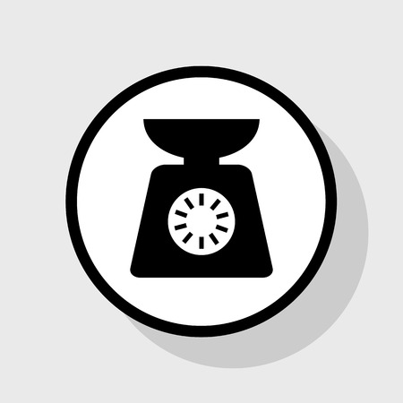 scale icon: Kitchen scales sign. Vector. Flat black icon in white circle with shadow at gray background.