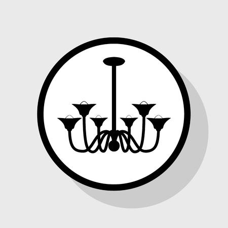 Lustre signe simple. Vecteur. Icône plate noire dans un cercle blanc avec une ombre sur fond gris. Banque d'images - 75907467
