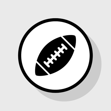 American simple football ball. Vector. Flat black icon in white circle with shadow at gray background. Illustration