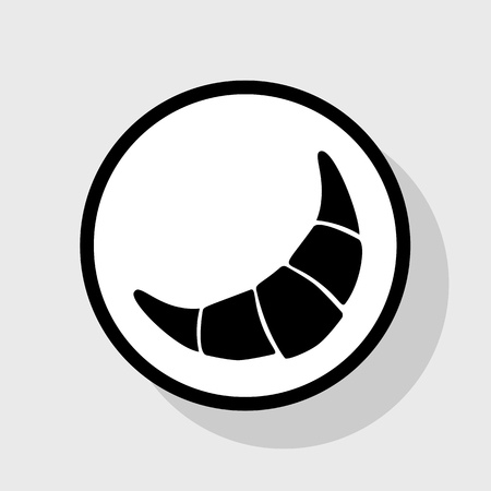 Croissant simple sign. Vector. Flat black icon in white circle with shadow at gray background. Illustration