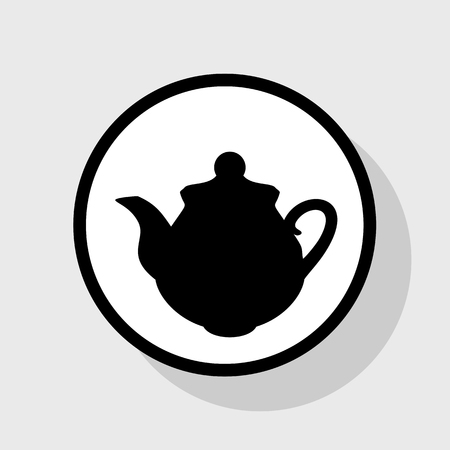 Tea maker Kitchen sign. Vector. Flat black icon in white circle with shadow at gray background. Illustration