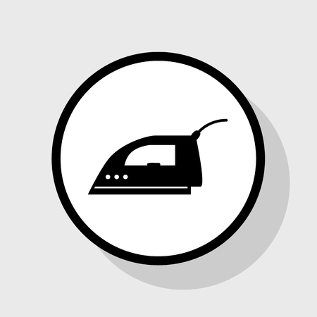 steam iron: Smoothing Iron sign. Vector. Flat black icon in white circle with shadow at gray background.