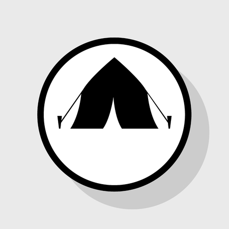 Tourist tent sign. Vector. Flat black icon in white circle with shadow at gray background. Иллюстрация
