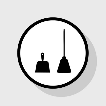 Dustpan vector sign. Scoop for cleaning garbage housework dustpan equipment. Vector. Flat black icon in white circle with shadow at gray background. Illustration