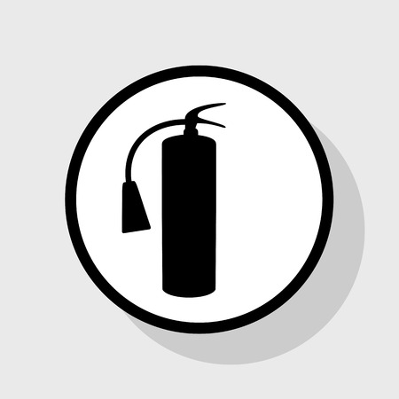 Fire extinguisher sign. Vector. Flat black icon in white circle with shadow at gray background.