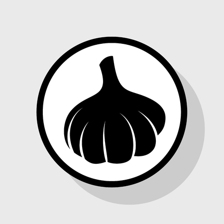 ingradient: Garlic simple sign. Vector. Flat black icon in white circle with shadow at gray background.