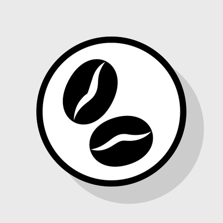 Coffee beans sign. Vector. Flat black icon in white circle with shadow at gray background. Ilustração