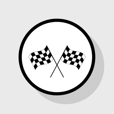 Crossed checkered flags logo waving in the wind conceptual of motor sport. Vector. Flat black icon in white circle with shadow at gray background. Illustration