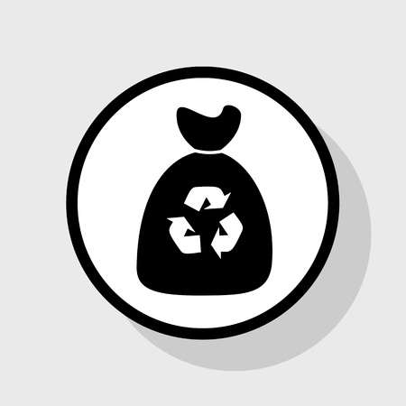 Trash bag icon. Vector. Flat black icon in white circle with shadow at gray background.
