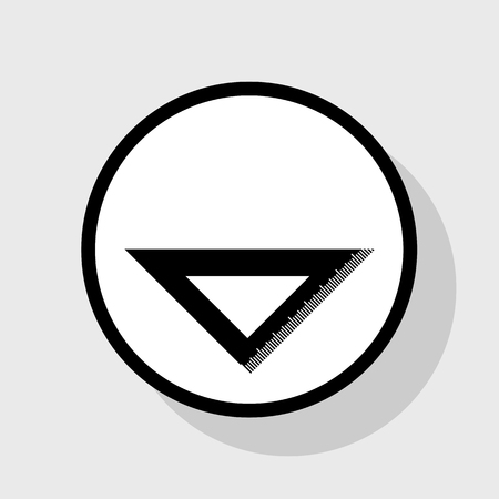 scale icon: Ruler sign illustration. Vector. Flat black icon in white circle with shadow at gray background.