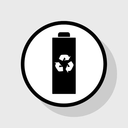 バッテリー リサイクル サイン イラスト。ベクトル。灰色の背景に影を白い円のフラット ブラック アイコン。