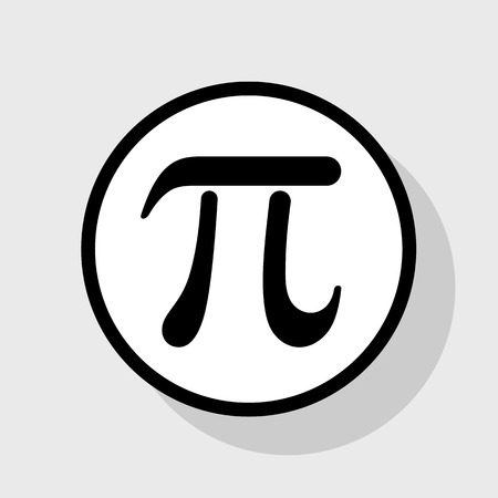Pi greek letter sign. Vector. Flat black icon in white circle with shadow at gray background. Illustration