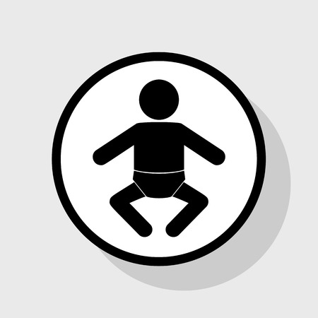 Baby sign illustration. Vector. Flat black icon in white circle with shadow at gray background.