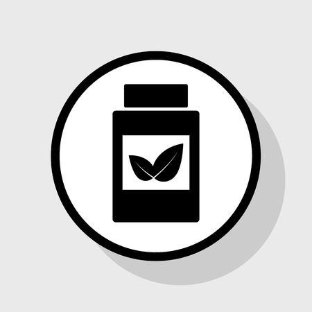 homeopathic: Supplements container sign. Vector. Flat black icon in white circle with shadow at gray background.