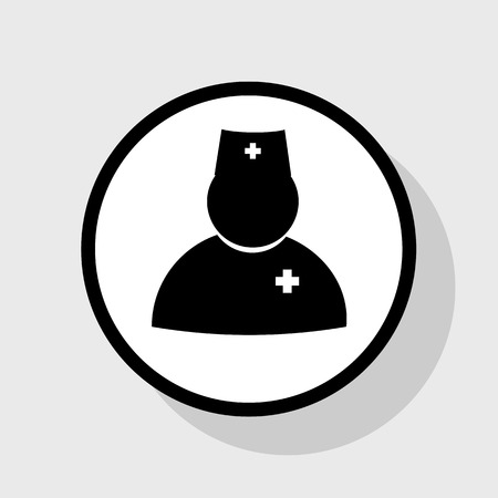 Doctor sign illustration. Vector. Flat black icon in white circle with shadow at gray background. Illustration