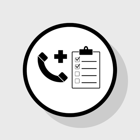emergency cart: Medical consultation sign. Vector. Flat black icon in white circle with shadow at gray background.