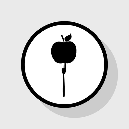 ingradient: Vegetarian food sign illustration. Vector. Flat black icon in white circle with shadow at gray background.