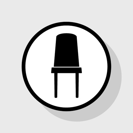 kitchen furniture: Office chair sign. Vector. Flat black icon in white circle with shadow at gray background. Illustration