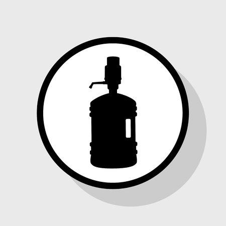siphon: Plastic bottle silhouette with water and siphon. Vector. Flat black icon in white circle with shadow at gray background.