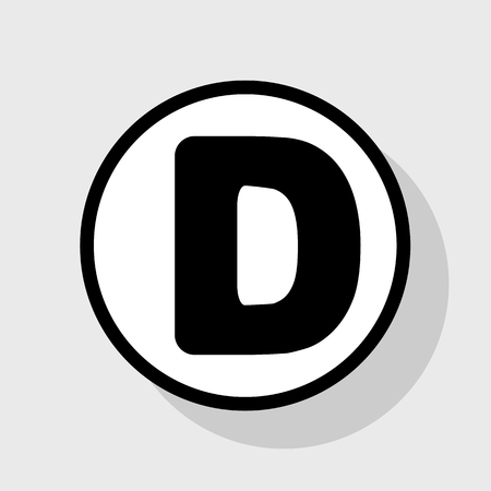 sans: Letter D sign design template element. Vector. Flat black icon in white circle with shadow at gray background. Illustration