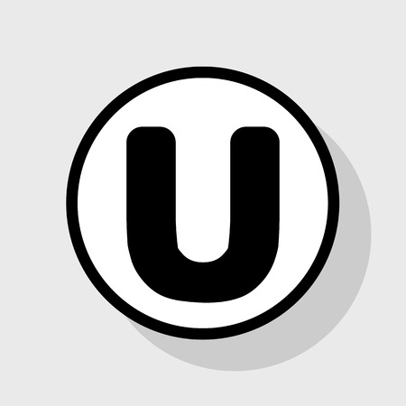sans: Letter U sign design template element. Vector. Flat black icon in white circle with shadow at gray background. Illustration