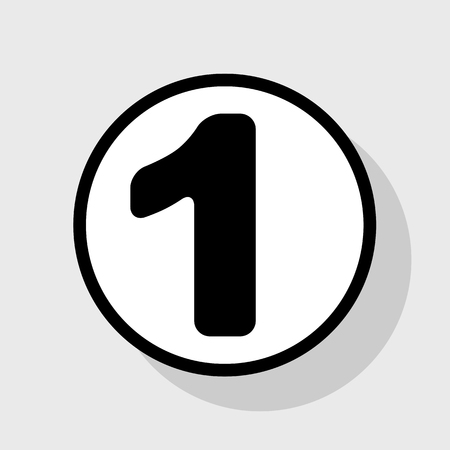 Number 1 sign design template element. Vector. Flat black icon in white circle with shadow at gray background. Illustration