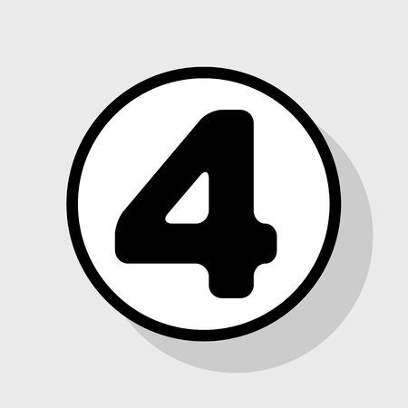 Number 4 sign design template element. Vector. Flat black icon in white circle with shadow at gray background.