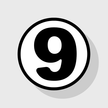 Number 9 sign design template element. Vector. Flat black icon in white circle with shadow at gray background.