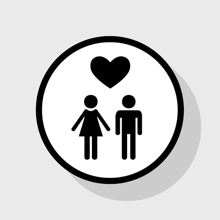 Family symbol with heart. Husband and wife are kept each other`s hands. Love. Vector. Flat black icon in white circle with shadow at gray background. Illustration
