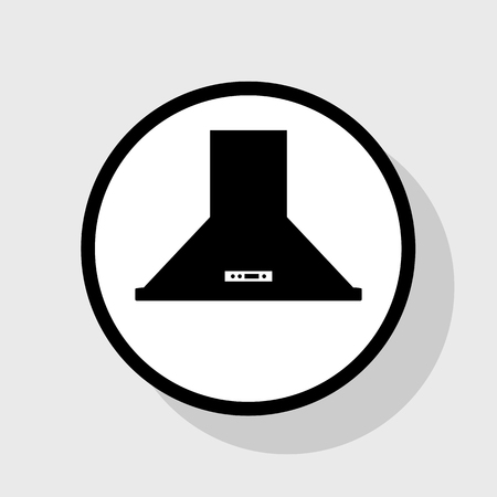 stainless steel: Exhaust hood. Kitchen ventilation sign. Vector. Flat black icon in white circle with shadow at gray background. Illustration