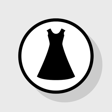 cor: beautiful long dress sign. Vector. Flat black icon in white circle with shadow at gray background.