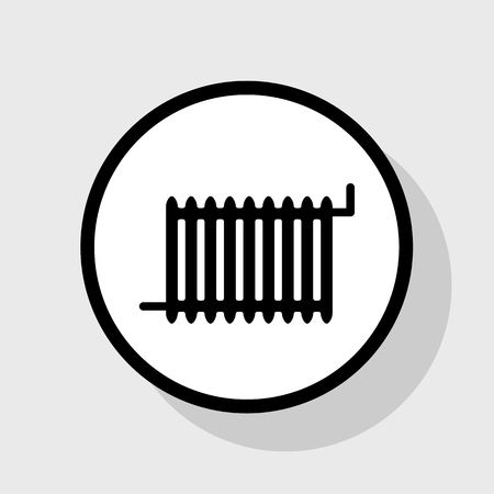 boiler: Radiator sign. Vector. Flat black icon in white circle with shadow at gray background.