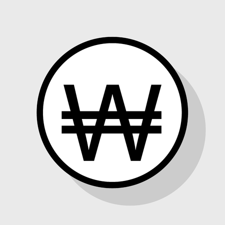 Won sign. Vector. Flat black icon in white circle with shadow at gray background. Illustration