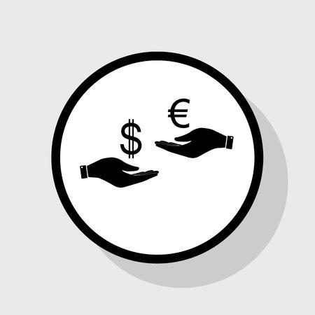 Valutawissel van hand tot hand. Dollar en Euro. Vector. Platte zwarte pictogram in witte cirkel met schaduw op grijze achtergrond.