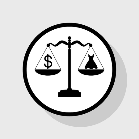 beautifully: Dress and dollar symbol on scales. Vector. Flat black icon in white circle with shadow at gray background. Illustration