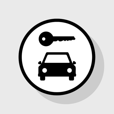 rent index: Car key simplistic sign. Vector. Flat black icon in white circle with shadow at gray background. Illustration