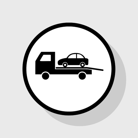 evacuate: Tow car evacuation sign. Vector. Flat black icon in white circle with shadow at gray background. Illustration