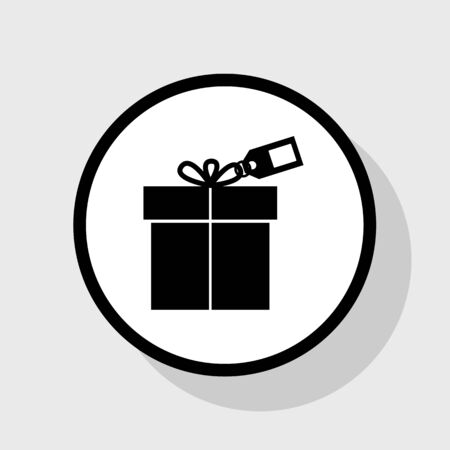giftware: Gift sign with tag. Vector. Flat black icon in white circle with shadow at gray background.