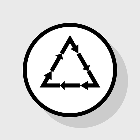 v cycle: Plastic recycling symbol PVC 3 , Plastic recycling code PVC 3. Vector. Flat black icon in white circle with shadow at gray background.