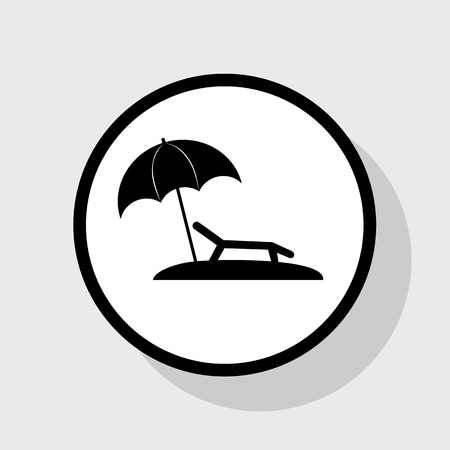 brolly: Tropical resort beach. Sunbed Chair sign. Vector. Flat black icon in white circle with shadow at gray background.
