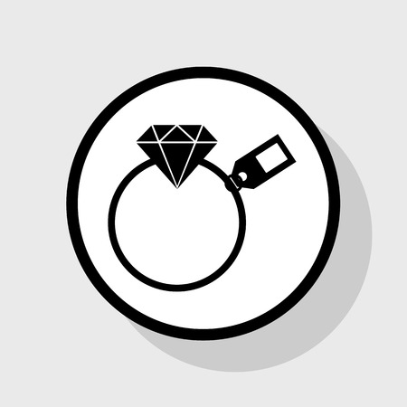 Diamond sign with tag. Vector. Flat black icon in white circle with shadow at gray background.