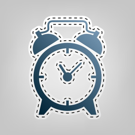 Alarm clock sign. Vector. Blue icon with outline for cutting out at gray background.