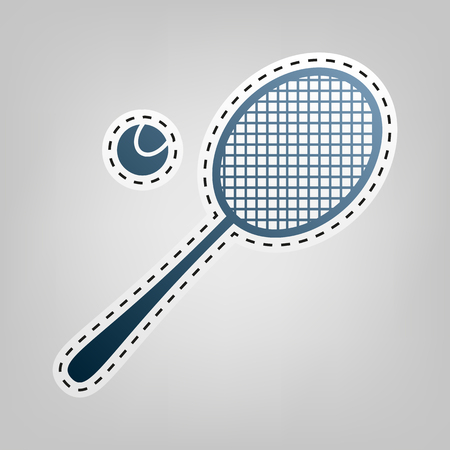 Tennis racquet sign. Vector. Blue icon with outline for cutting out at gray background. Ilustração