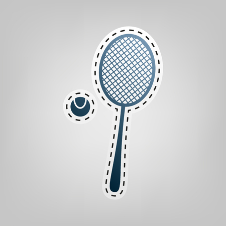 Tennis racquet sign. Vector. Blue icon with outline for cutting out at gray background. Illustration