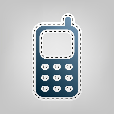Cell Phone sign. Vector. Blue icon with outline for cutting out. Illustration