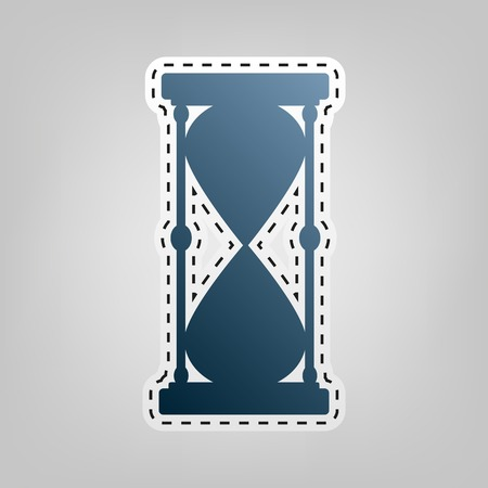 Hourglass sign illustration. Vector. Blue icon with outline for cutting out