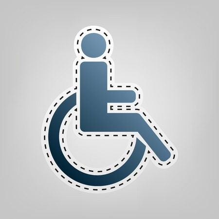 Disabled sign illustration. Vector. Blue icon with outline for cutting out