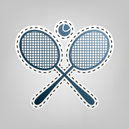 Tennis racket sign. Vector. Blue icon with outline for cutting out at gray background.